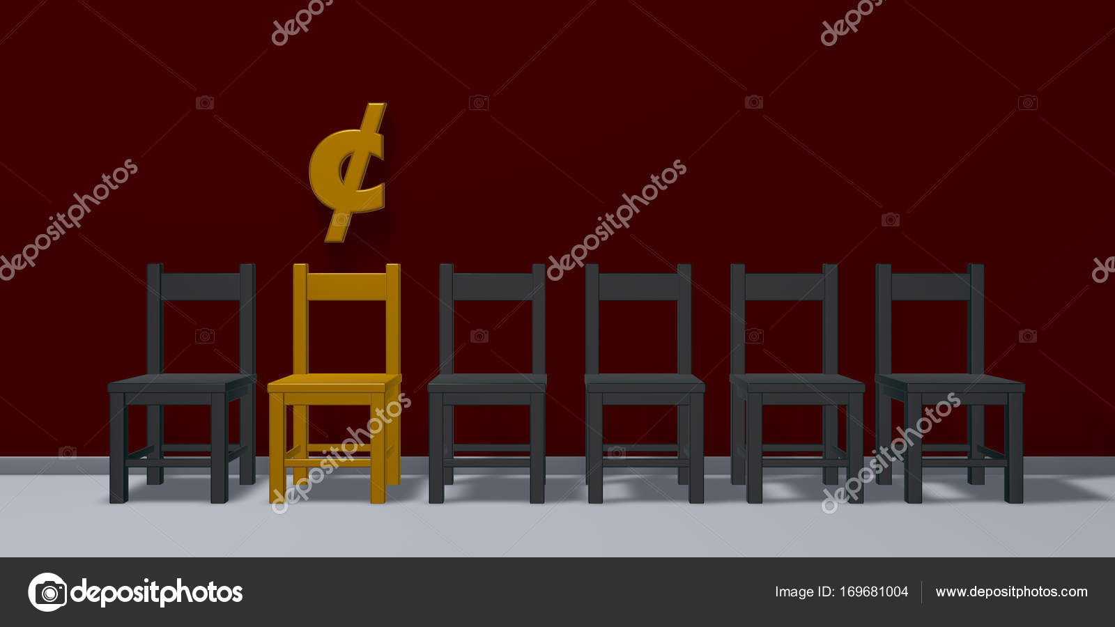 Cent Symbol And Row Of Chairs 3d Rendering Stock Photo Drizzd