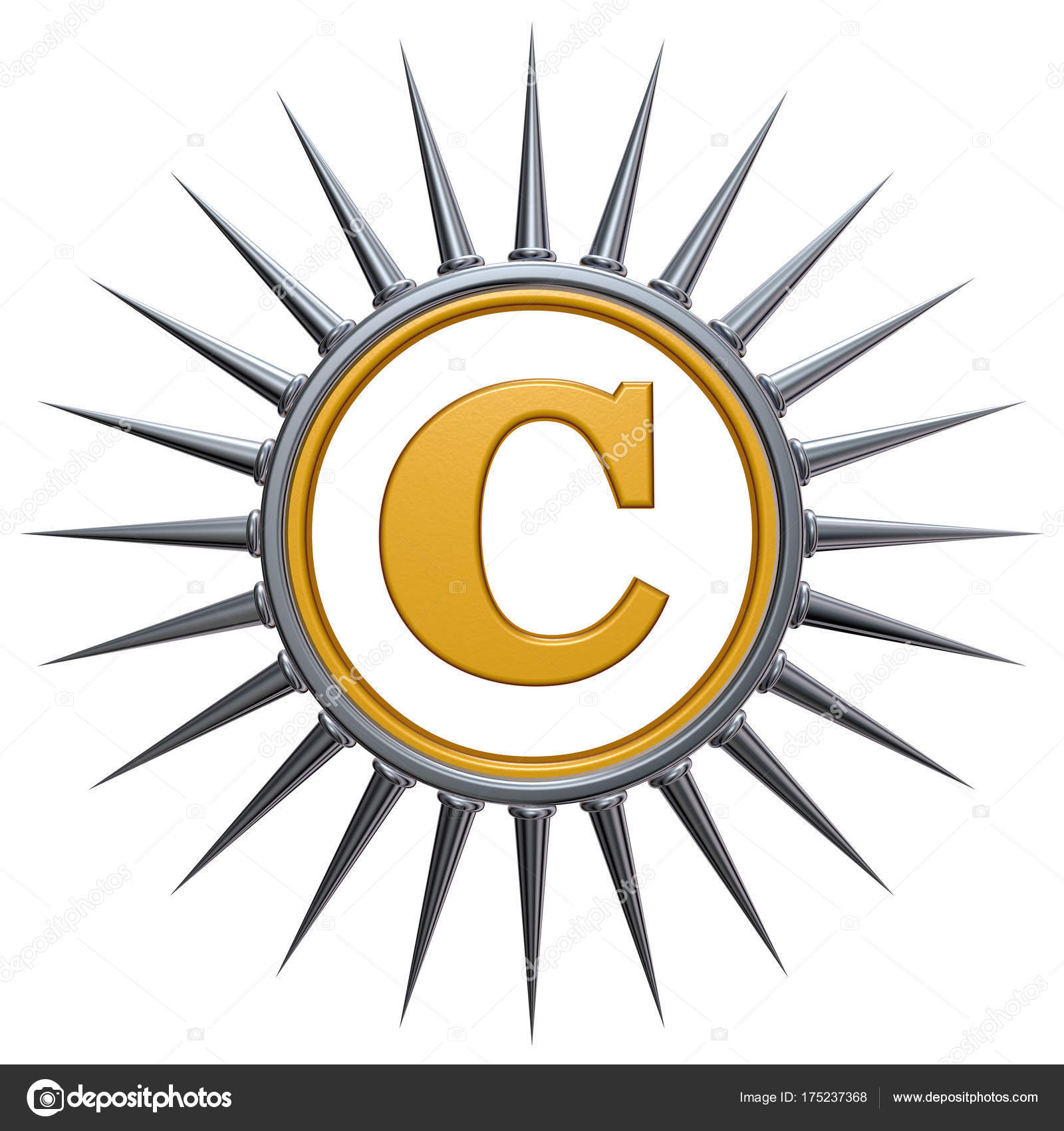 Copyright symbol with spikes stock photo drizzd 175237368 copyright symbol with spikes on white background 3d rendering photo by drizzd biocorpaavc
