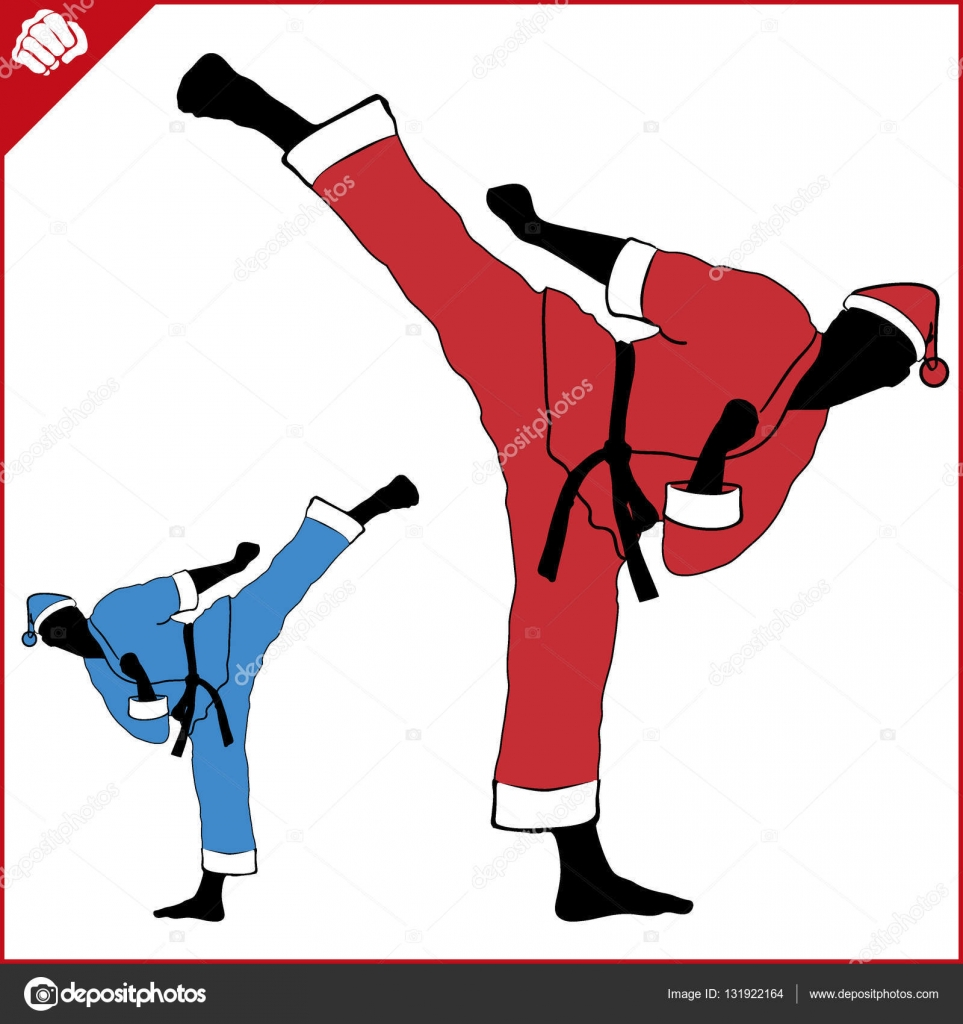 new year and merry christmas martial arts karate santa fighter in red kimono silhouette scene
