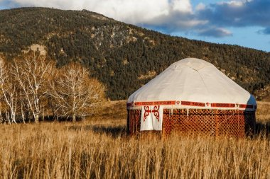 Asian Yurt in steppe - Nomad's tent is the national dwelling of Kazakhstan people