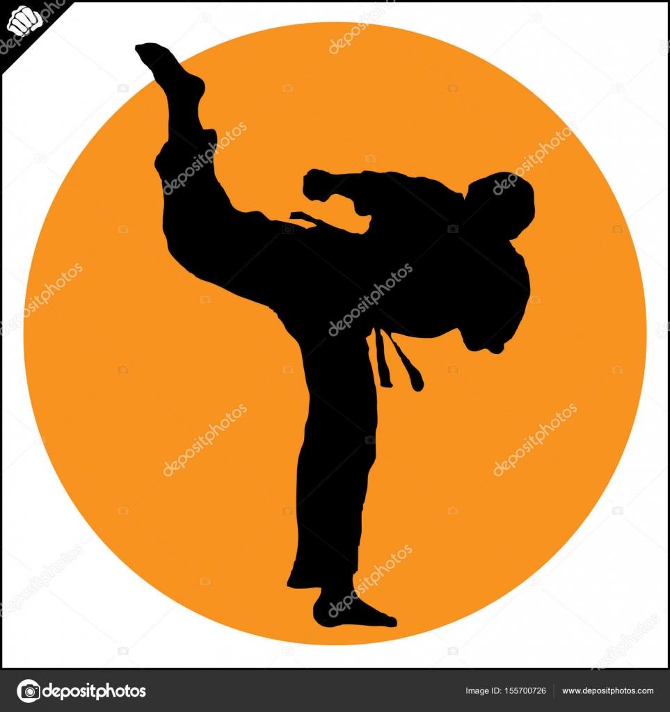 Sztuki Walki Karateków Walki Scena Sylwetka Szkolenie