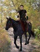 Medieval horseman traveler