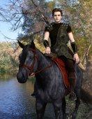 Fotografie Medieval horseman traveler