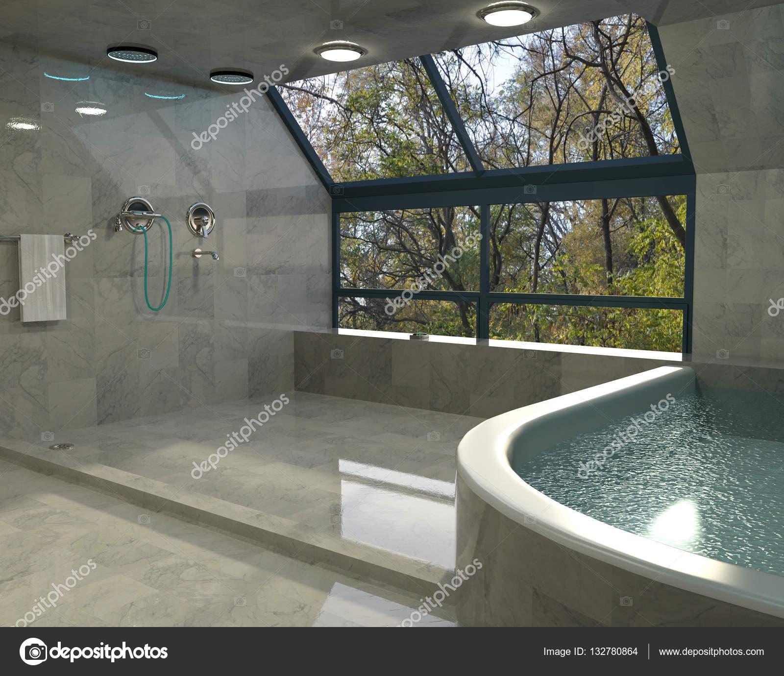 Dise o de interiores de ba o minimalista de lujo foto de for Diseno de bano minimalista