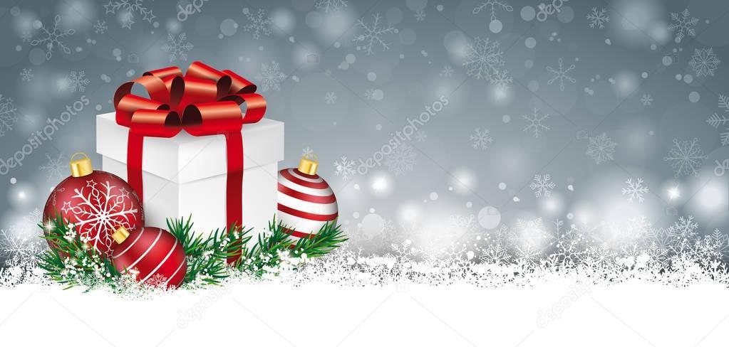 Graue Weihnachtskarte Schnee Kugeln Zweige Geschenk Header ...
