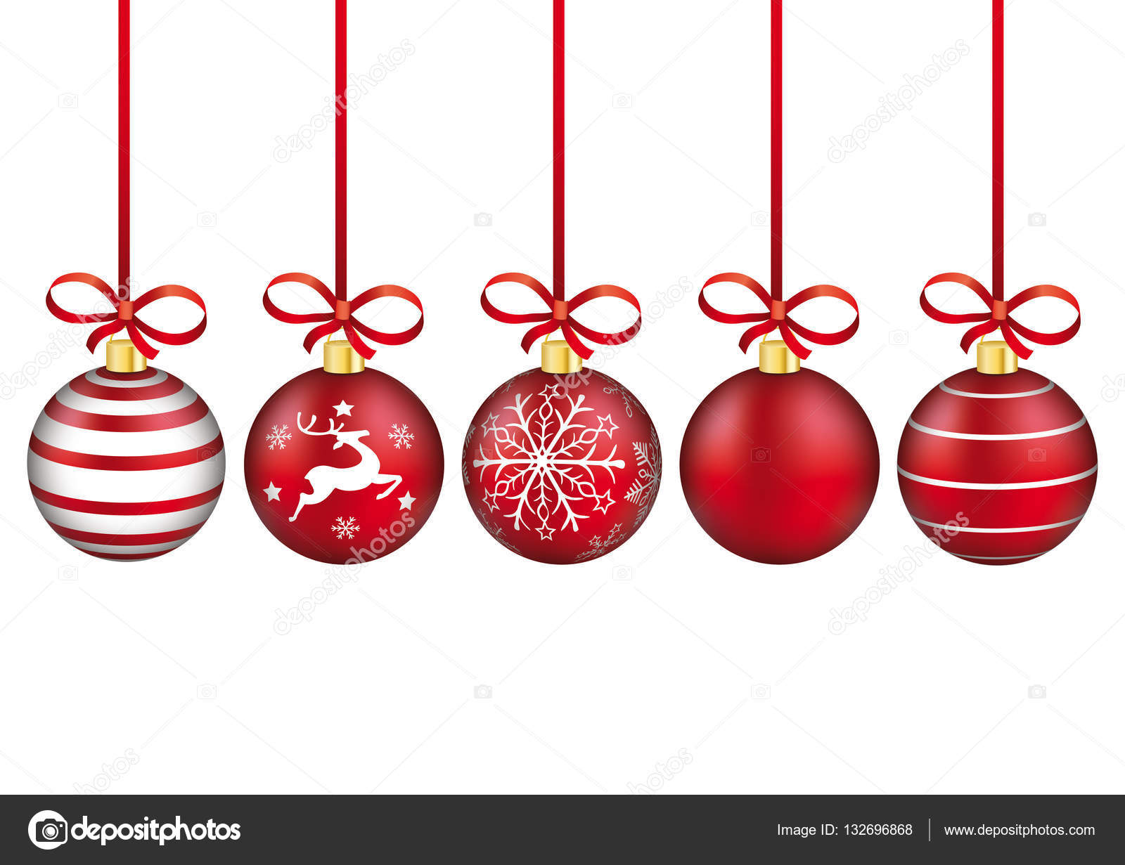 627968623007d Adornos de Navidad roja con lazos rojos en el fondo blanco. Ilustración de  vector - imágenes  sin copyright copyright navidad — Vector de limbi007 —  Vector ...