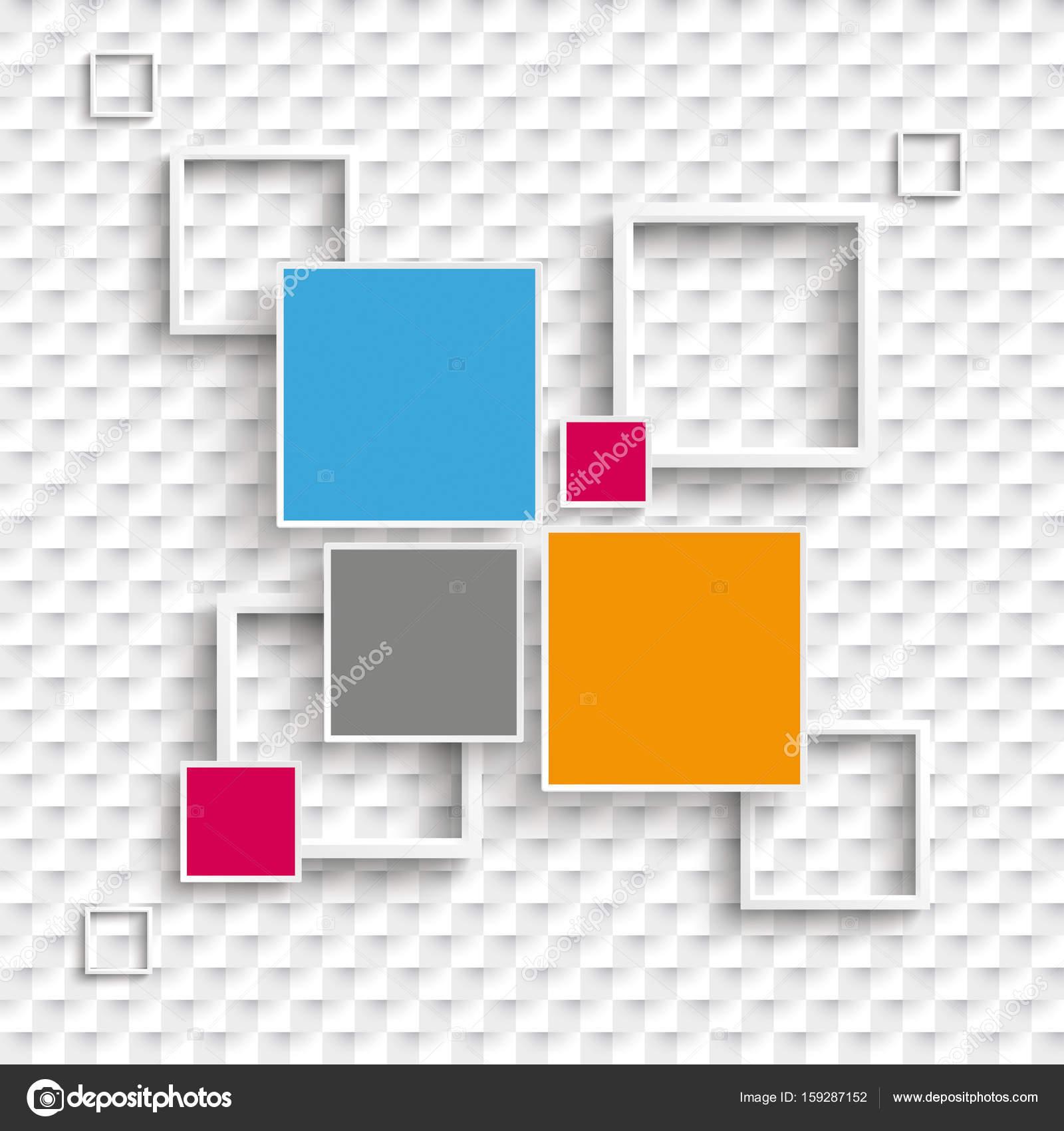 Fondo cuadros cuadrados y opciones de diseño de 4 marcos — Vector de ...