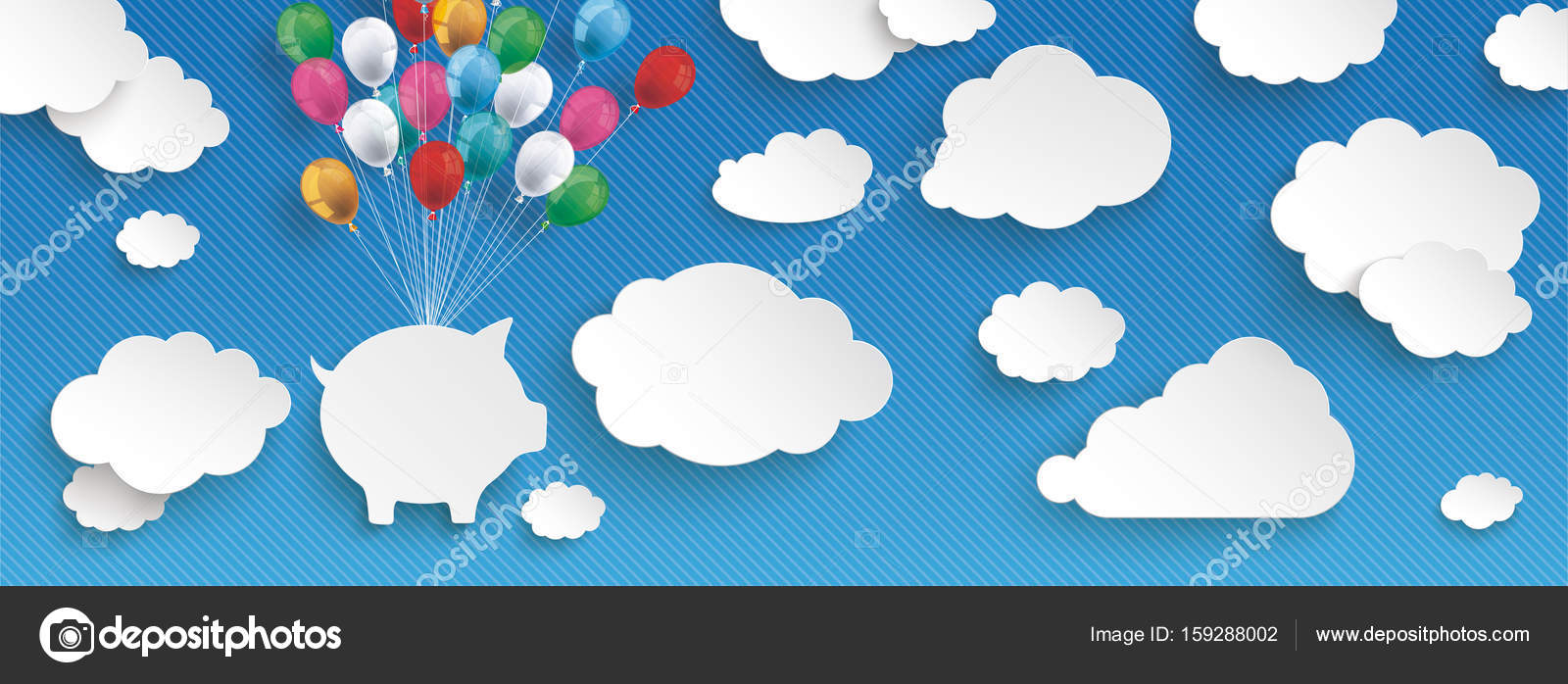 paper clouds striped blue sky balloons piggy bank header stock vector