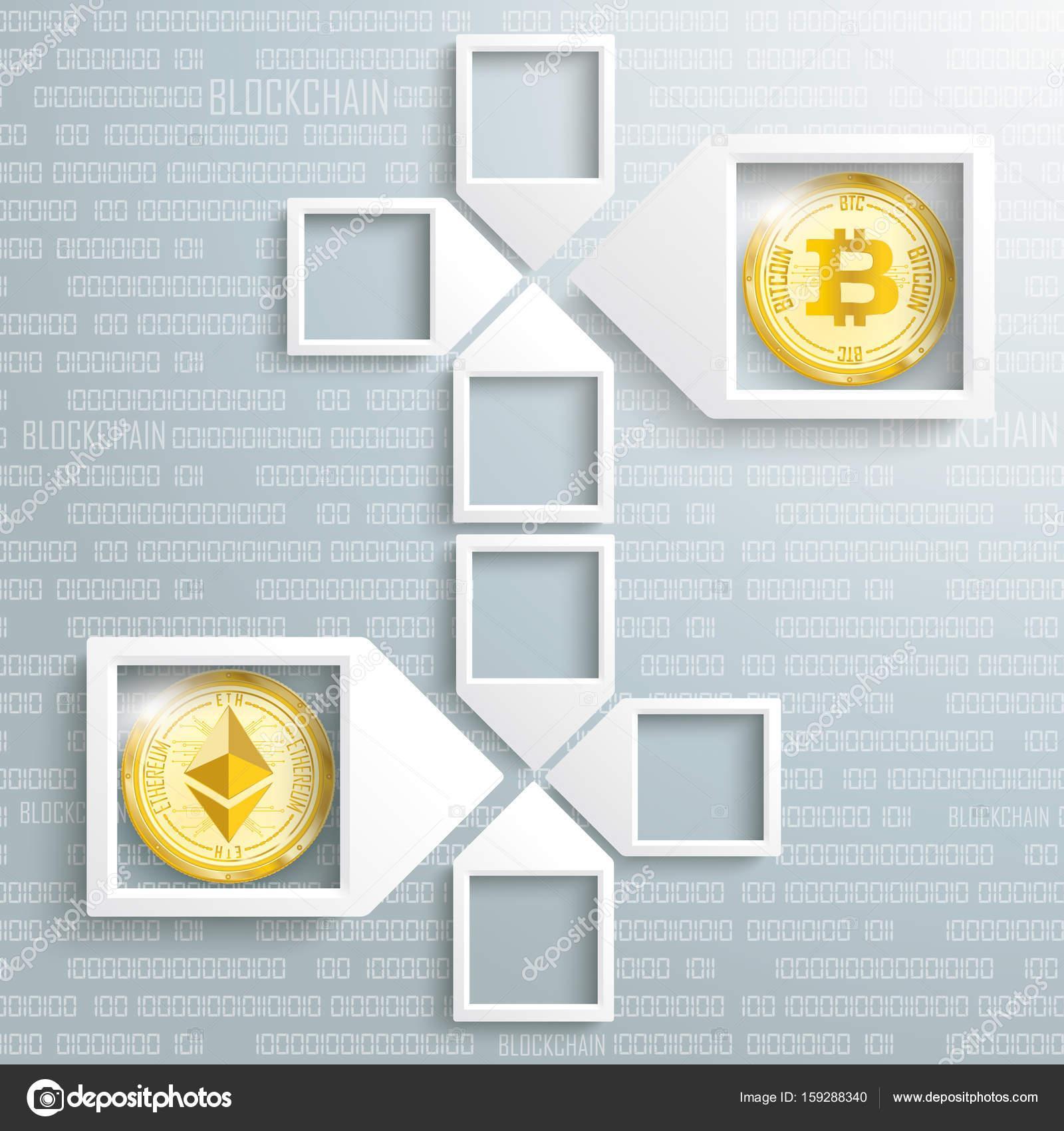Paper Arrow Frames Data Ethereum Bitcoin Blockchain — Stock Vector ...