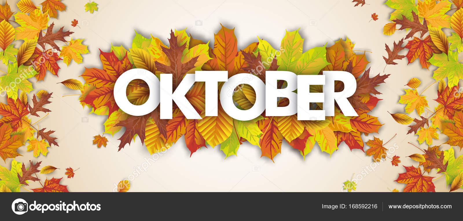 German Text Oktober Vector De Stock