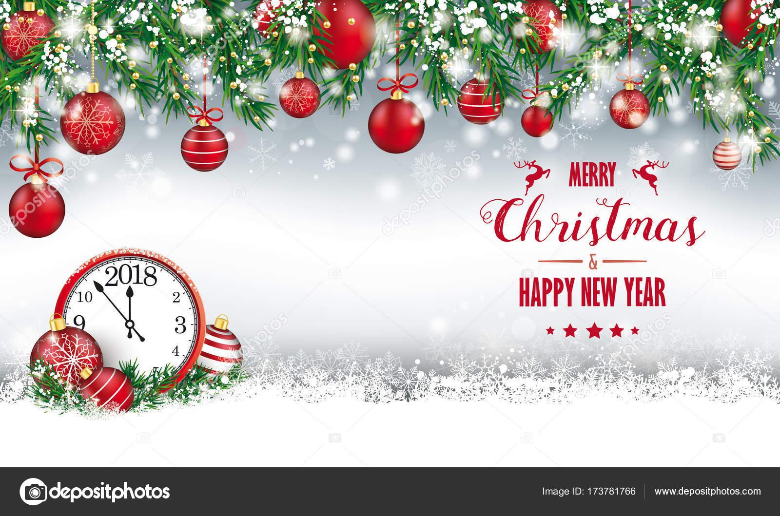 Christmas Header.Merry Christmas Header Green Twigs Snow Baubles Clock 2018