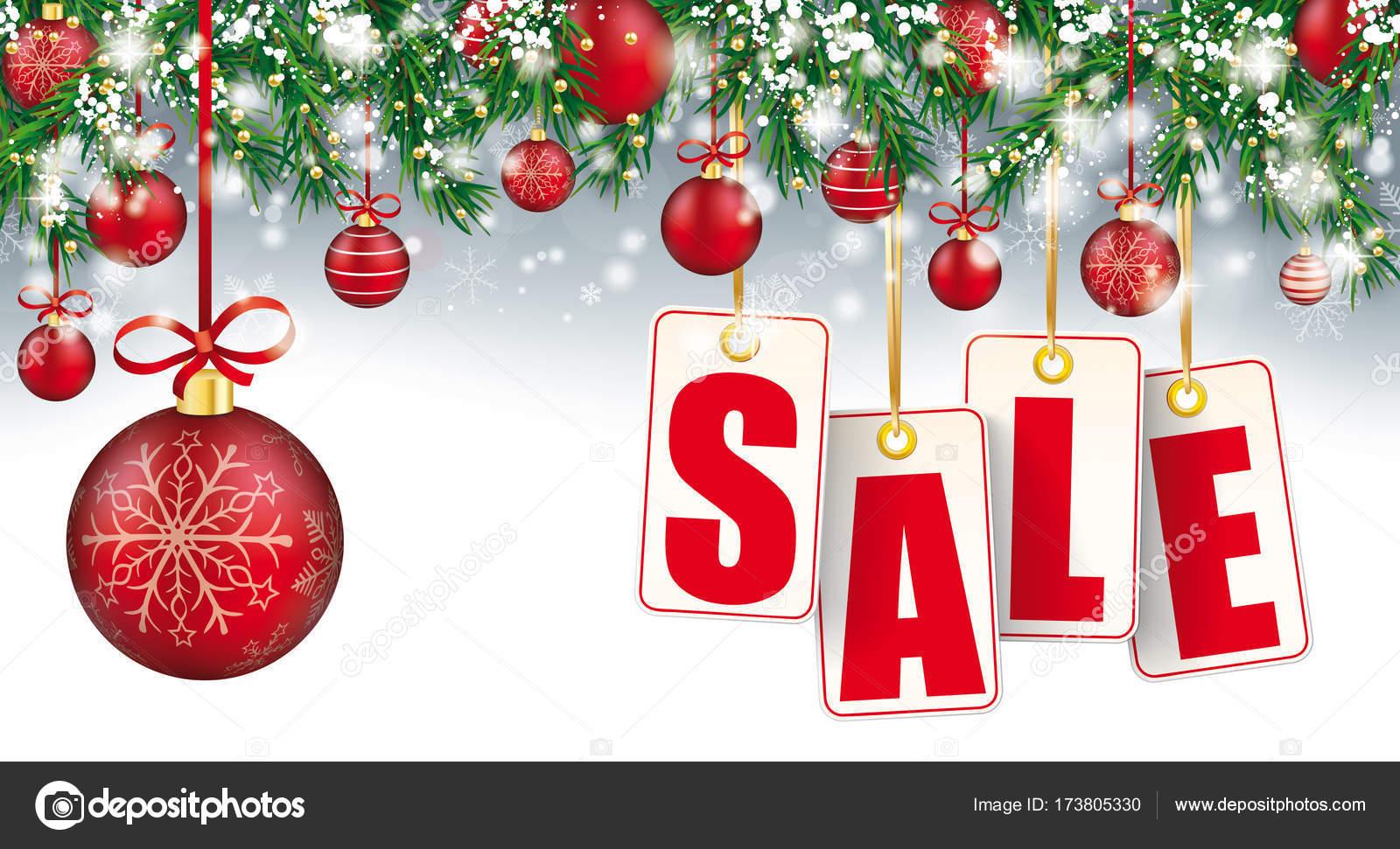 Christmas Sale Header Zweige Schnee Kugeln goldenen Preis Aufkleber ...