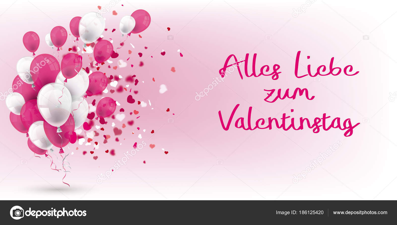 Kolorowe Balony Serca Tekst Niemiecki Alles Liebe Zum Valentinstag