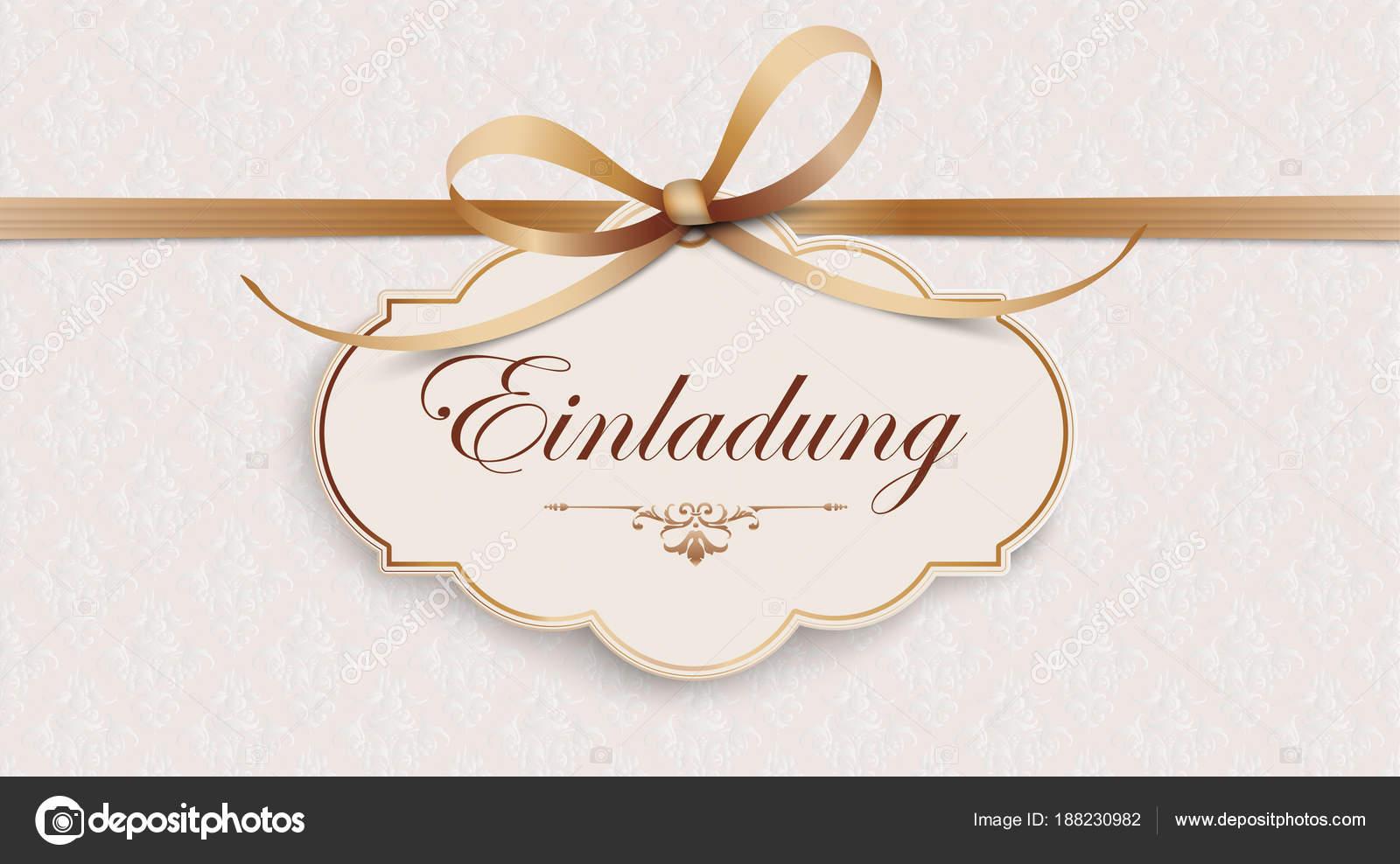 Tekst Niemiecki Einladung Tłumaczenie Zaproszenie Plik Wektorowy Eps