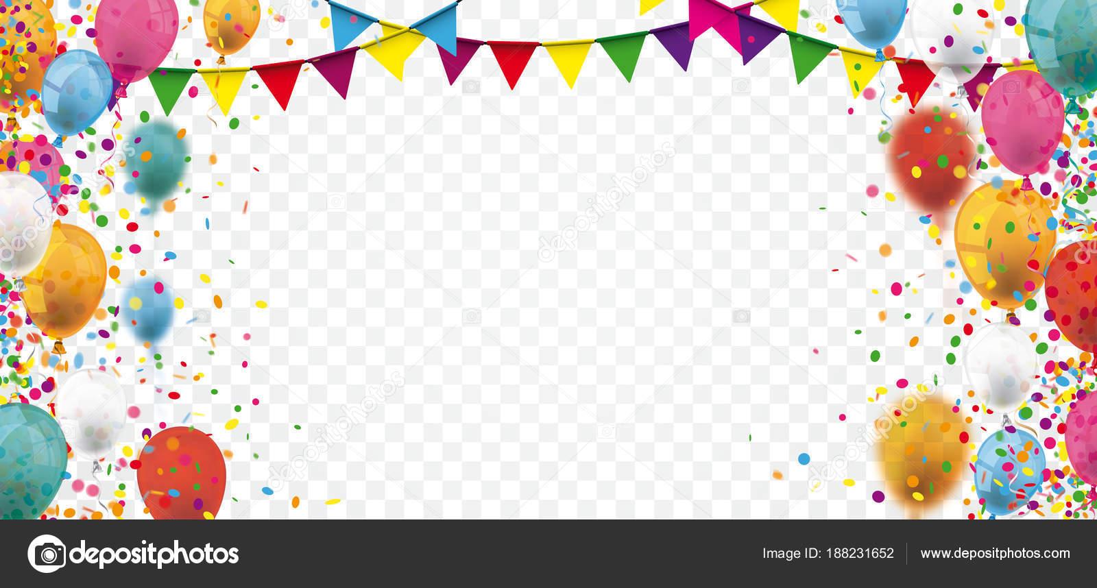 Farbige Konfetti Und Luftballons Auf Dem Aufgegebenen Hintergrund ...