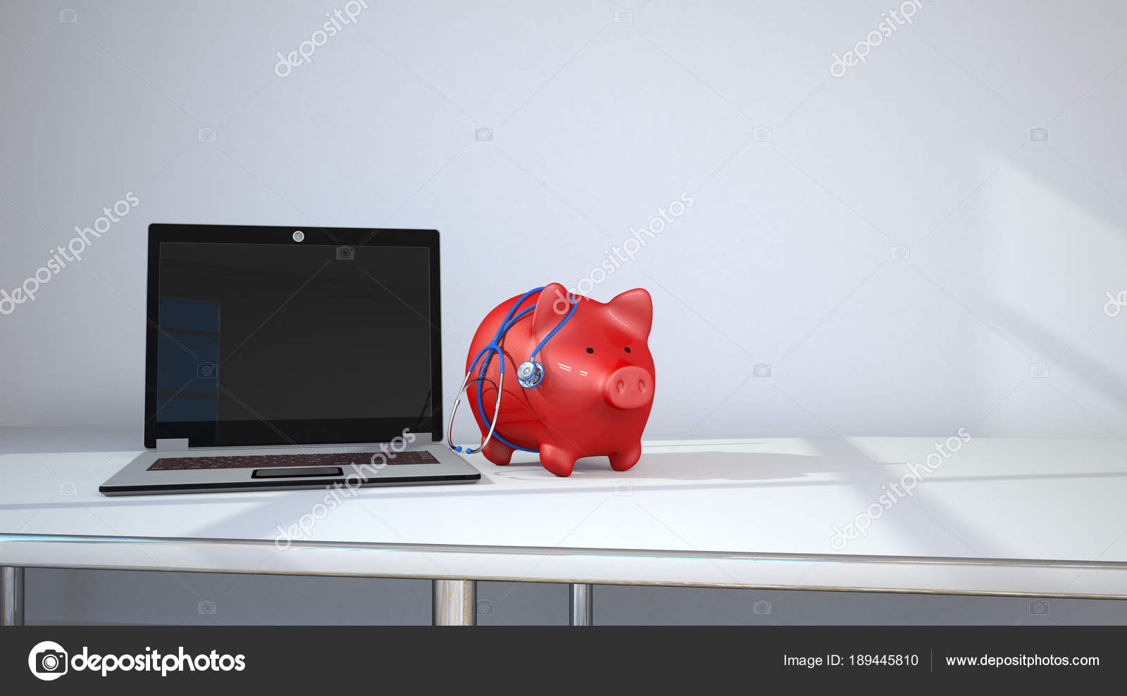 Laptop Tafel Bank : Piggy bank met blauwe stethoscoop laptop tafel kamer illustratie