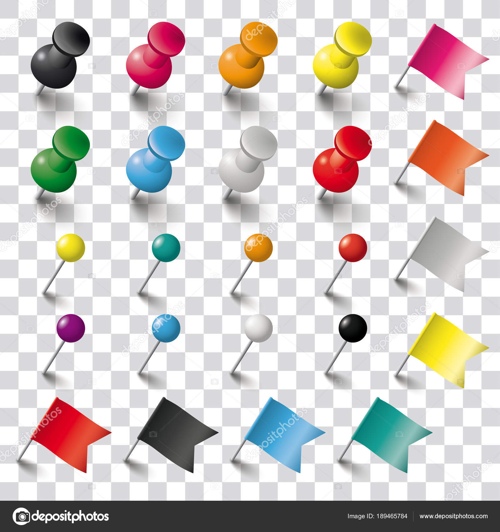 Colored Pins Flags Tacks Checked Background Eps Vector File Stock ...