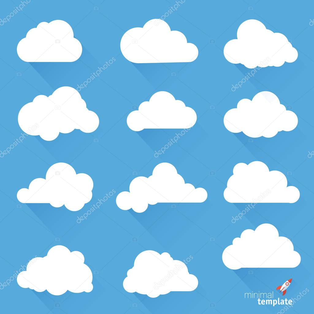 Clouds long shadow icons.