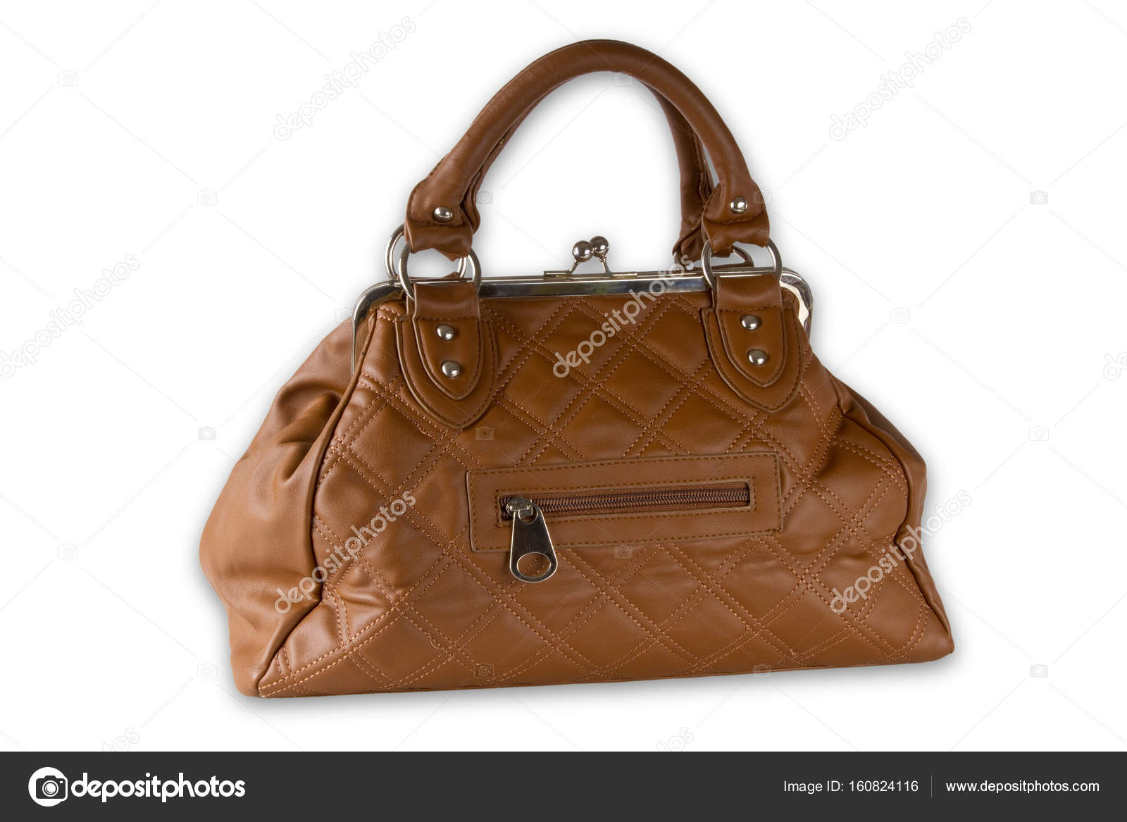 3e10e4257d Hnědá kabelka izolovaných na bílém pozadí — Fotografie od ...