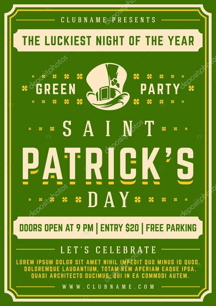 Saint Patricks Day Retro Typographic Party Poster Background