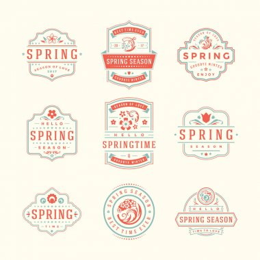 Spring Typographic Badges Design Set.