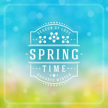 Spring Badge Vector Typographic Design Greeting Card