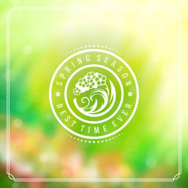 Spring Badge Vector Typographic Design Greeting Card.