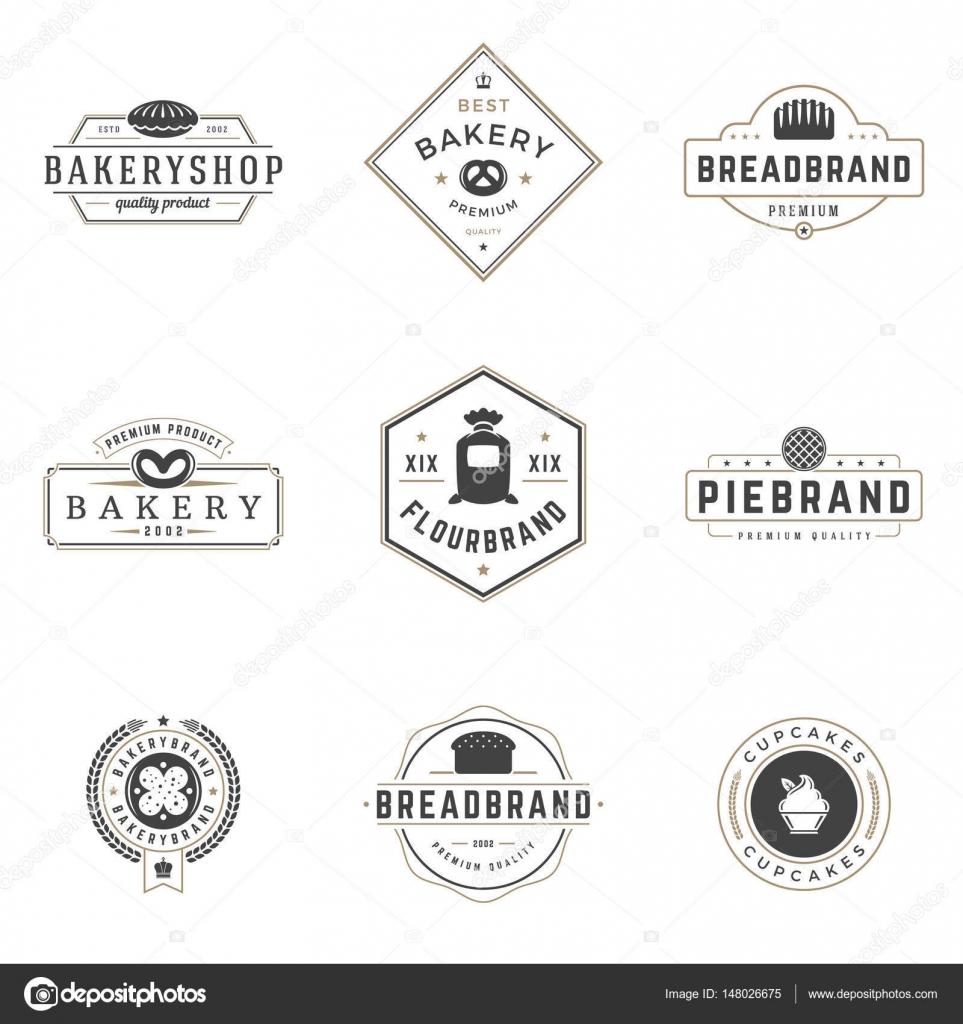 Panadería tienda Logos plantillas conjunto. Objeto vectorial y los ...