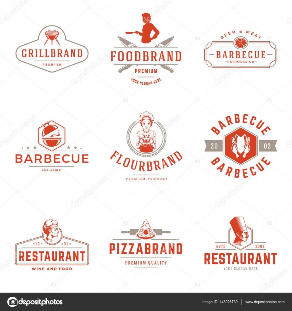 Plantillas de logotipos restaurante vector conjunto de objetos ...