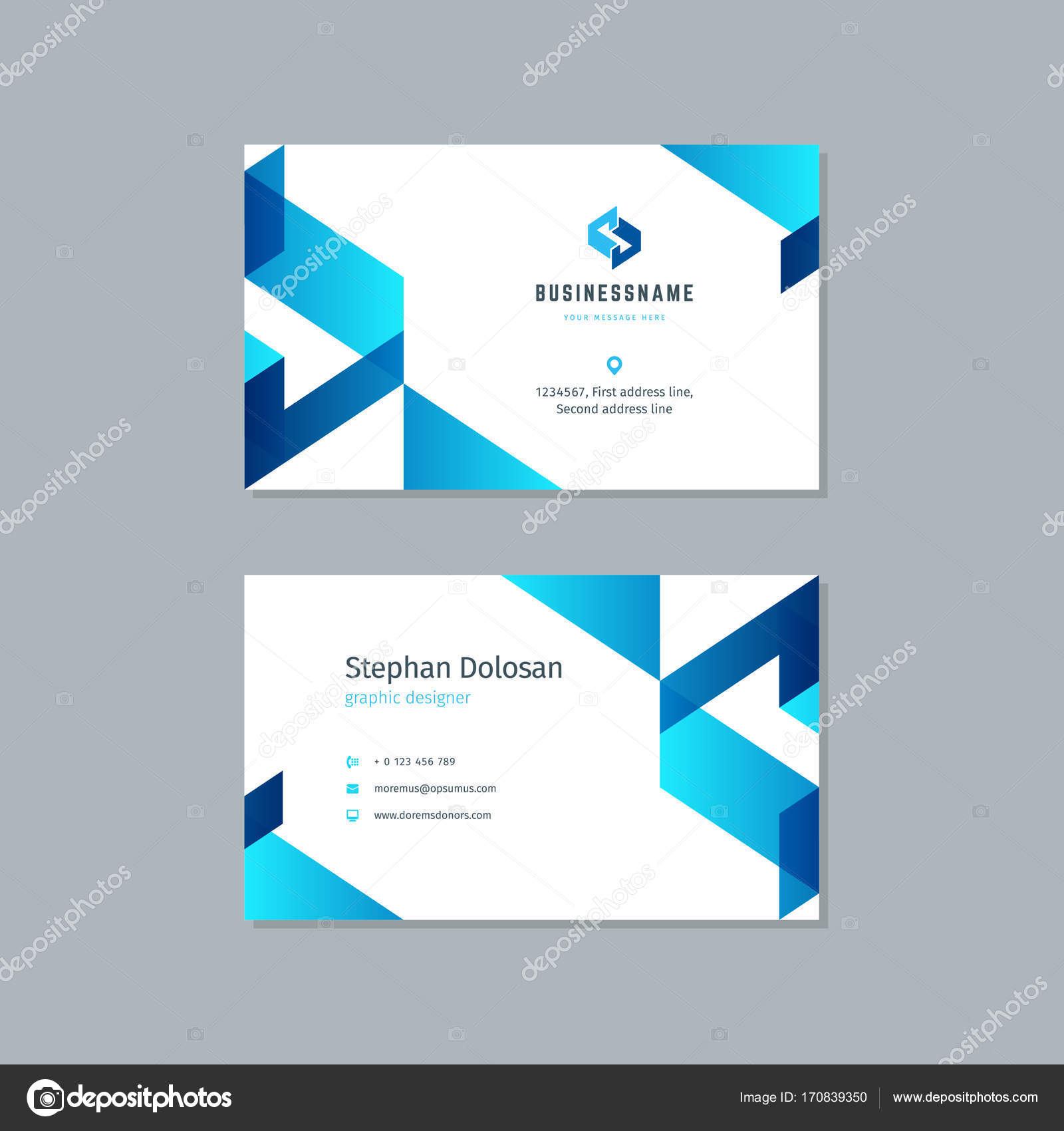 Business card design trendy blue colors template — Stock Vector ...