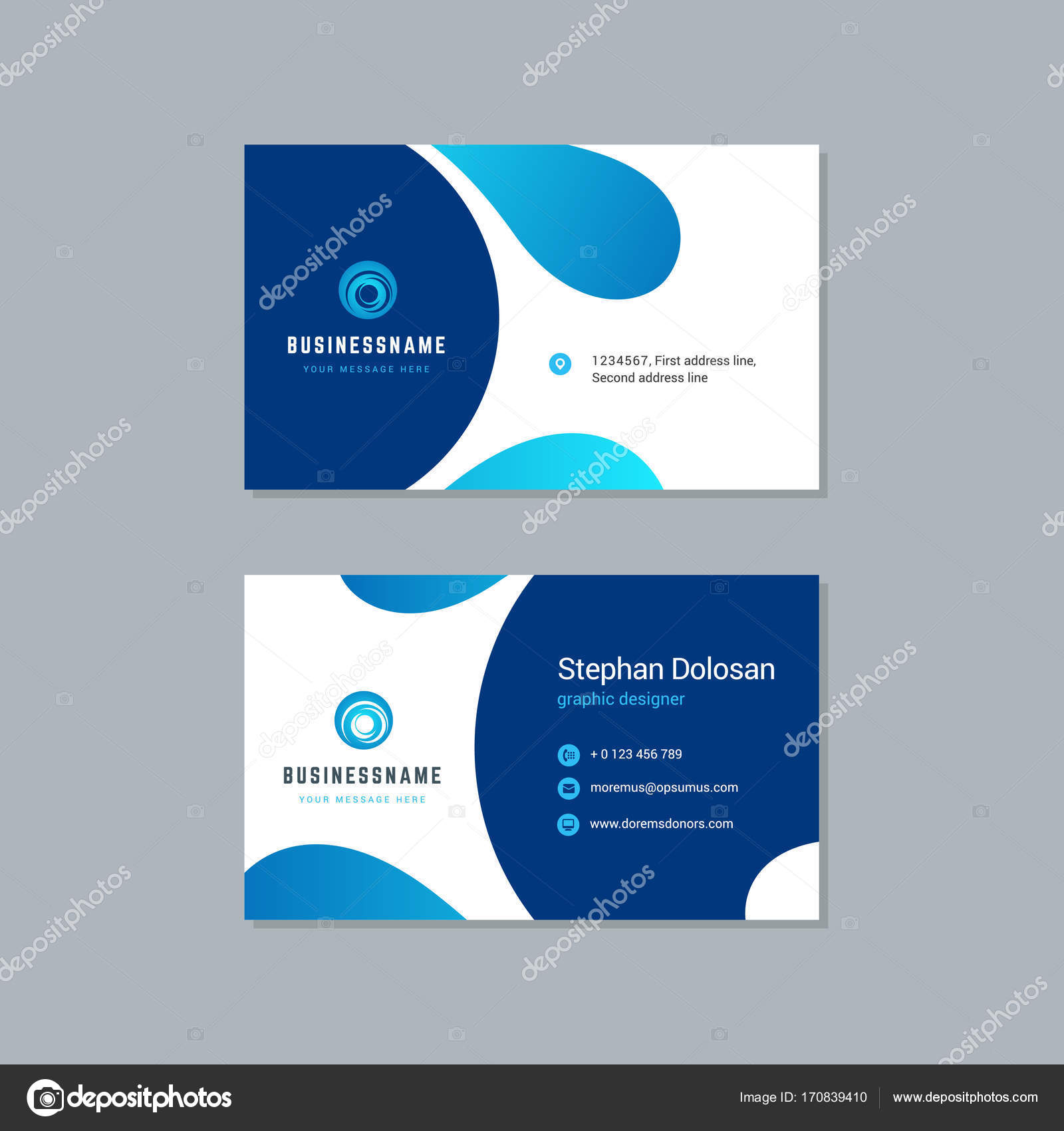 Business card design trendy blue colors template stock vector business card design trendy blue colors template modern corporate branding style vector illustration two sides with abstract logo on clean background colourmoves