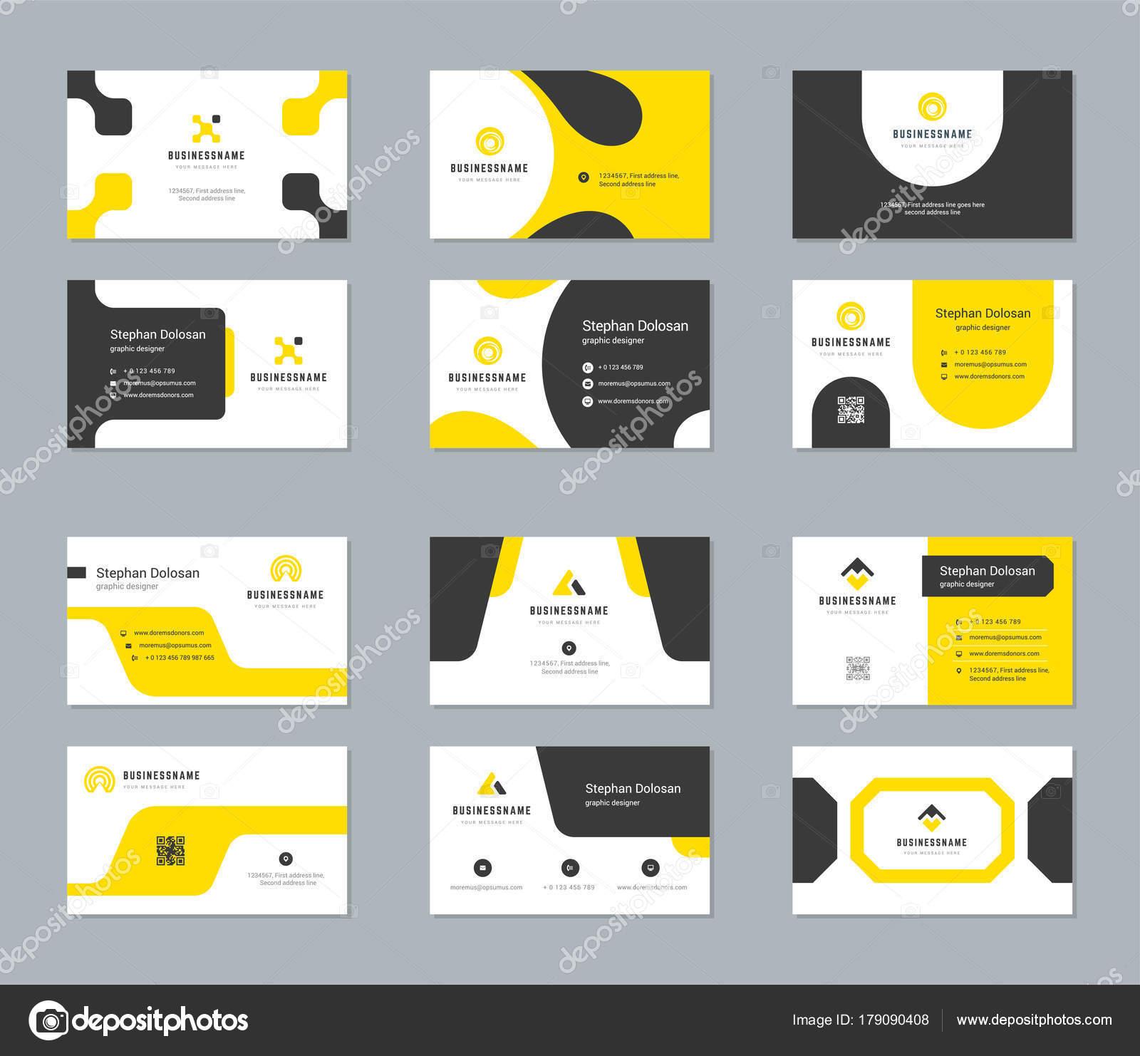 Cartes De Visite Design Modeles Set Abstraite Moderne Corporate Branding Style Vecteur Illustration Deux Cotes Avec Fond Couleurs Trendy Logo