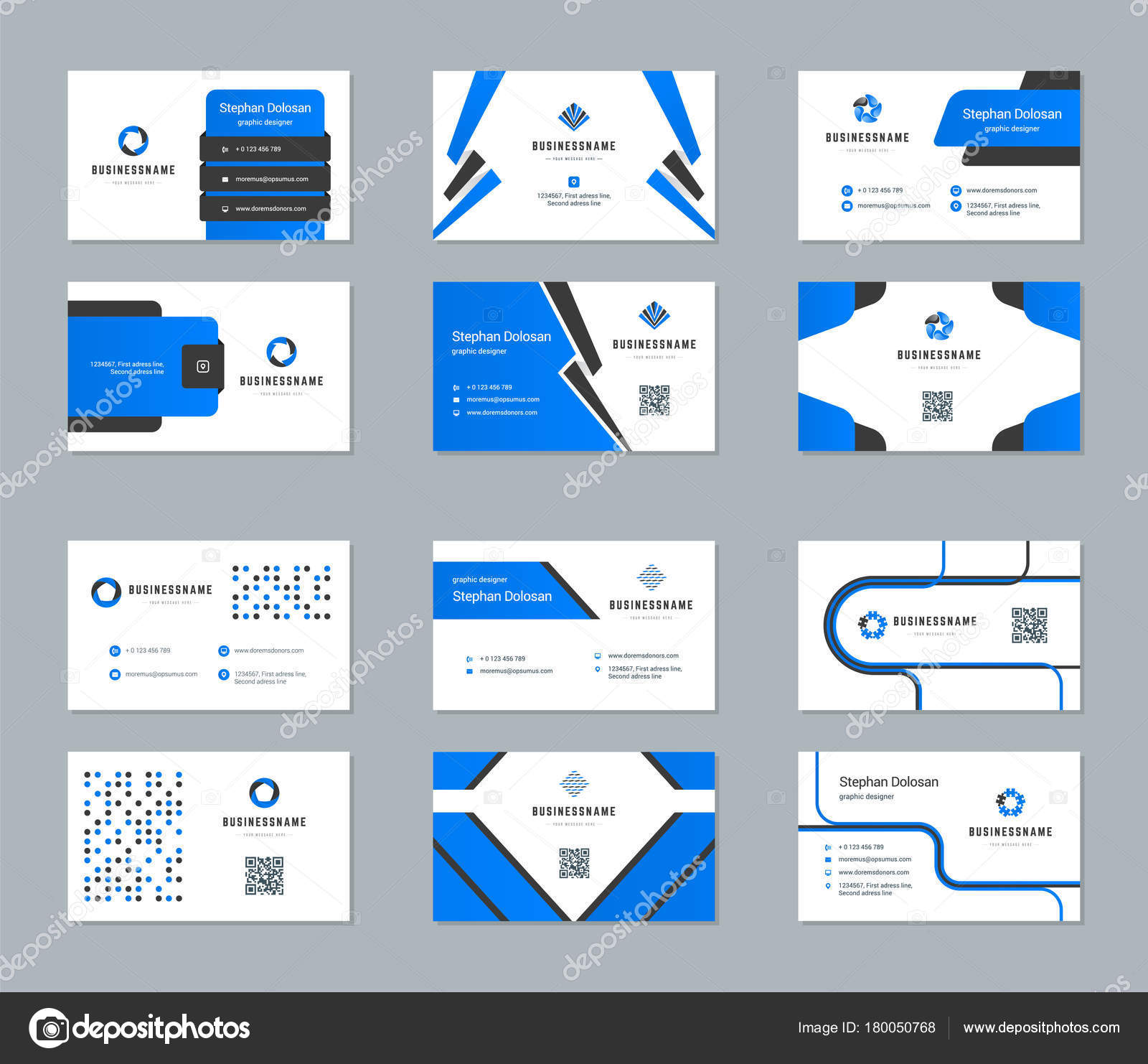 Business Cards Design Templates Set Stock Vector VikaSuh - Business cards examples templates