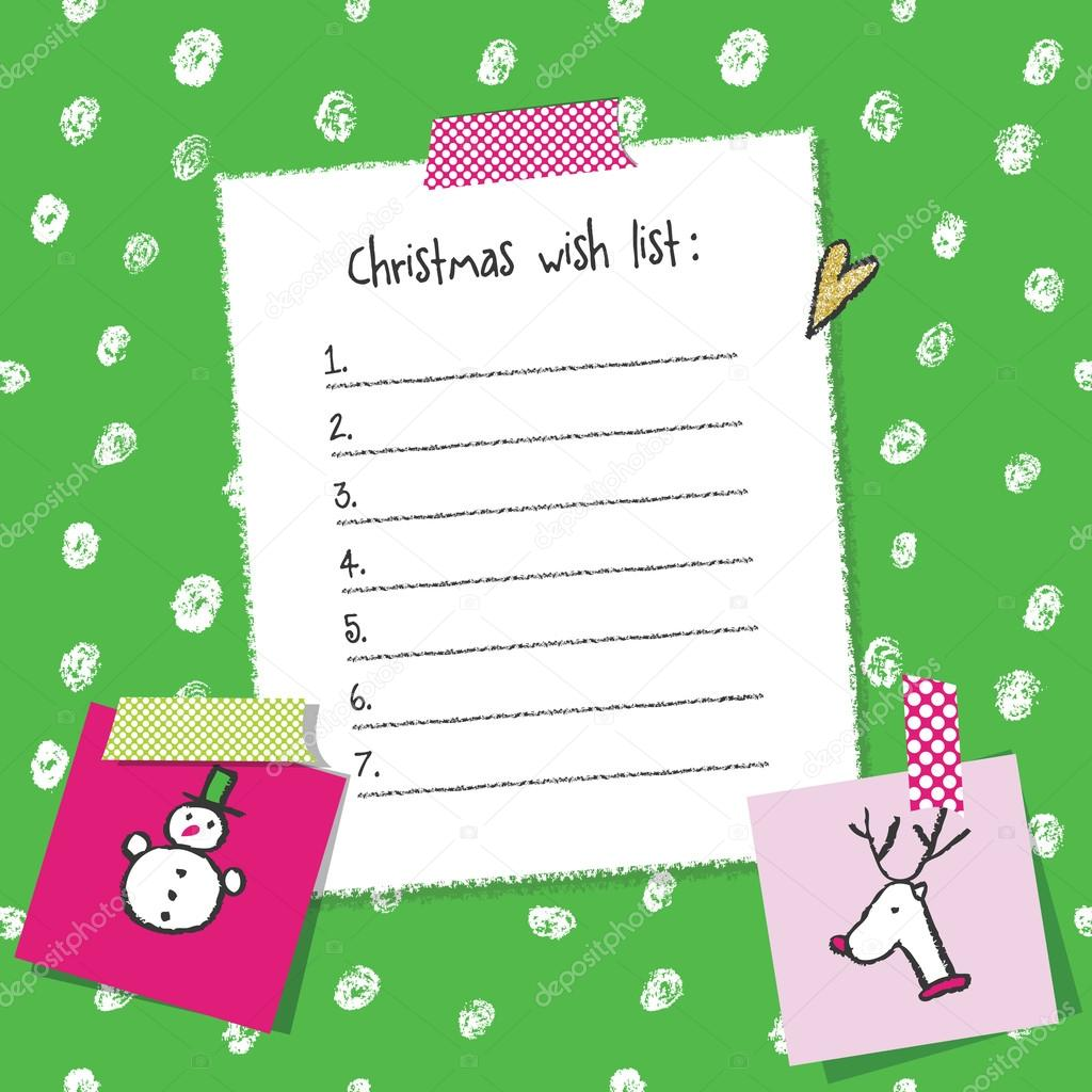 Christmas Wish List Template. Hand Drawn Elements. Printable Design. U2014  Vector By LeonART