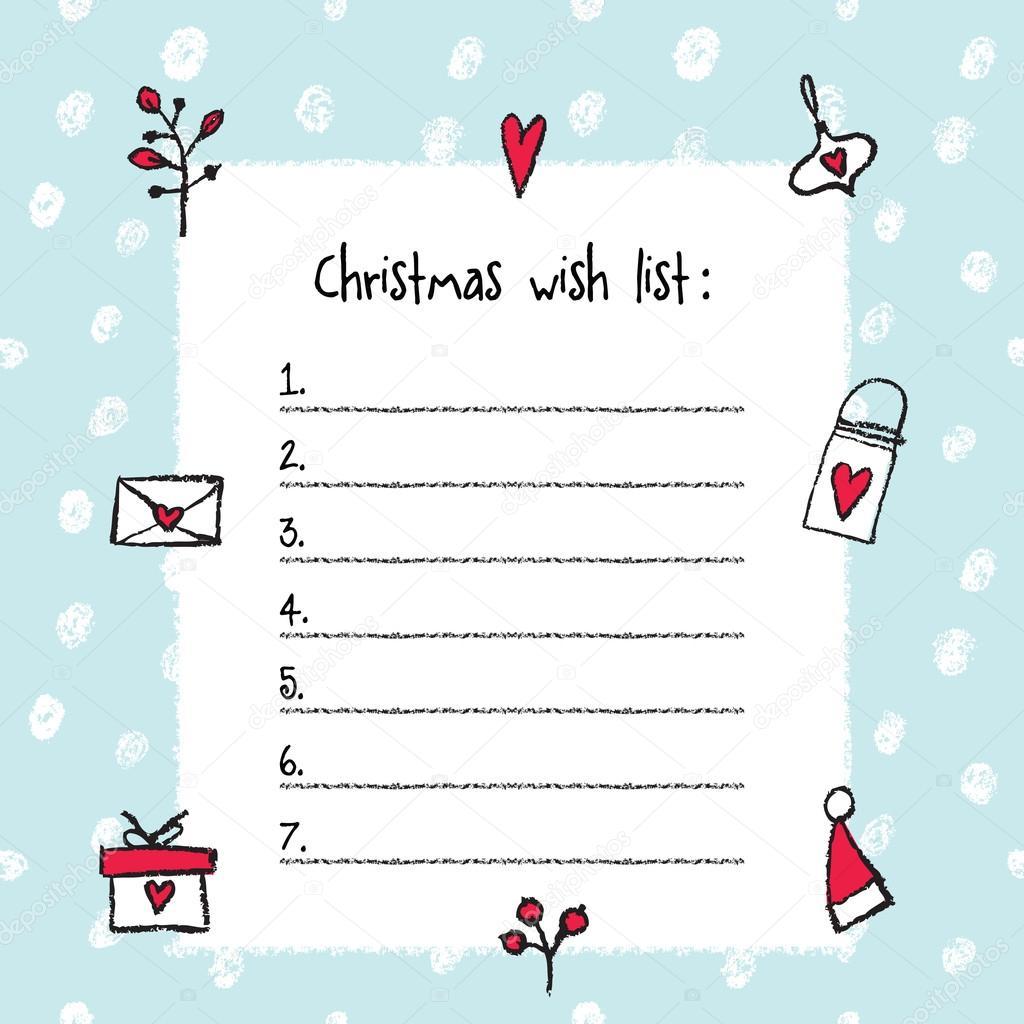 クリスマスのしい物のリスト テンプレートです 手描きの要素 ストック