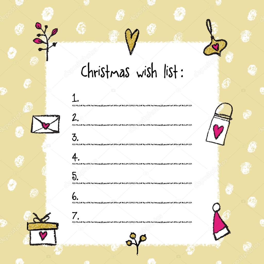 Weihnachts-Wunschliste-Vorlage. Handgezeichnete Elemente ...