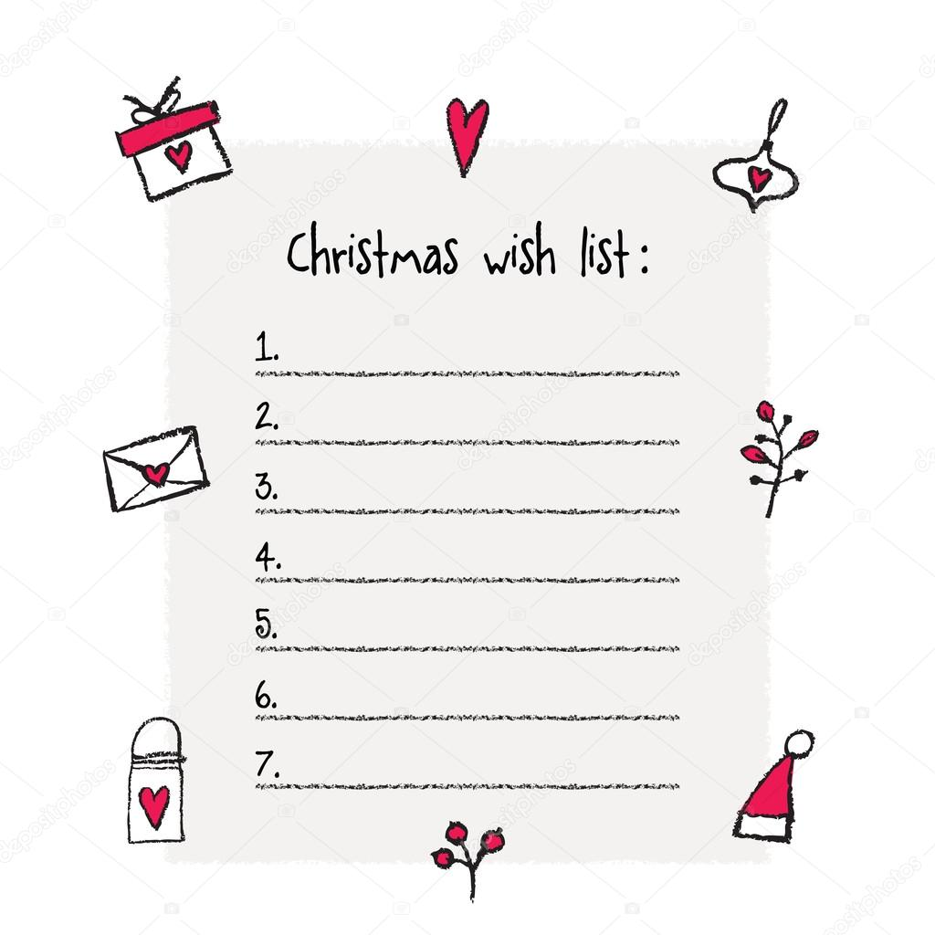 Christmas List Template.Christmas Wish List Template Hand Drawn Elements Stock