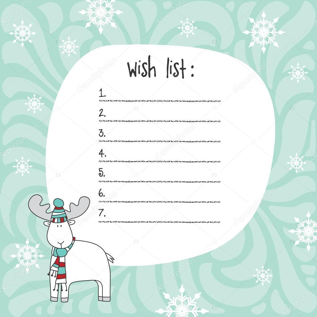 Christmas Wish List Template. Hand Drawn Elements. Printable Des U2014 Stock  Vector  Printable Wish List Template