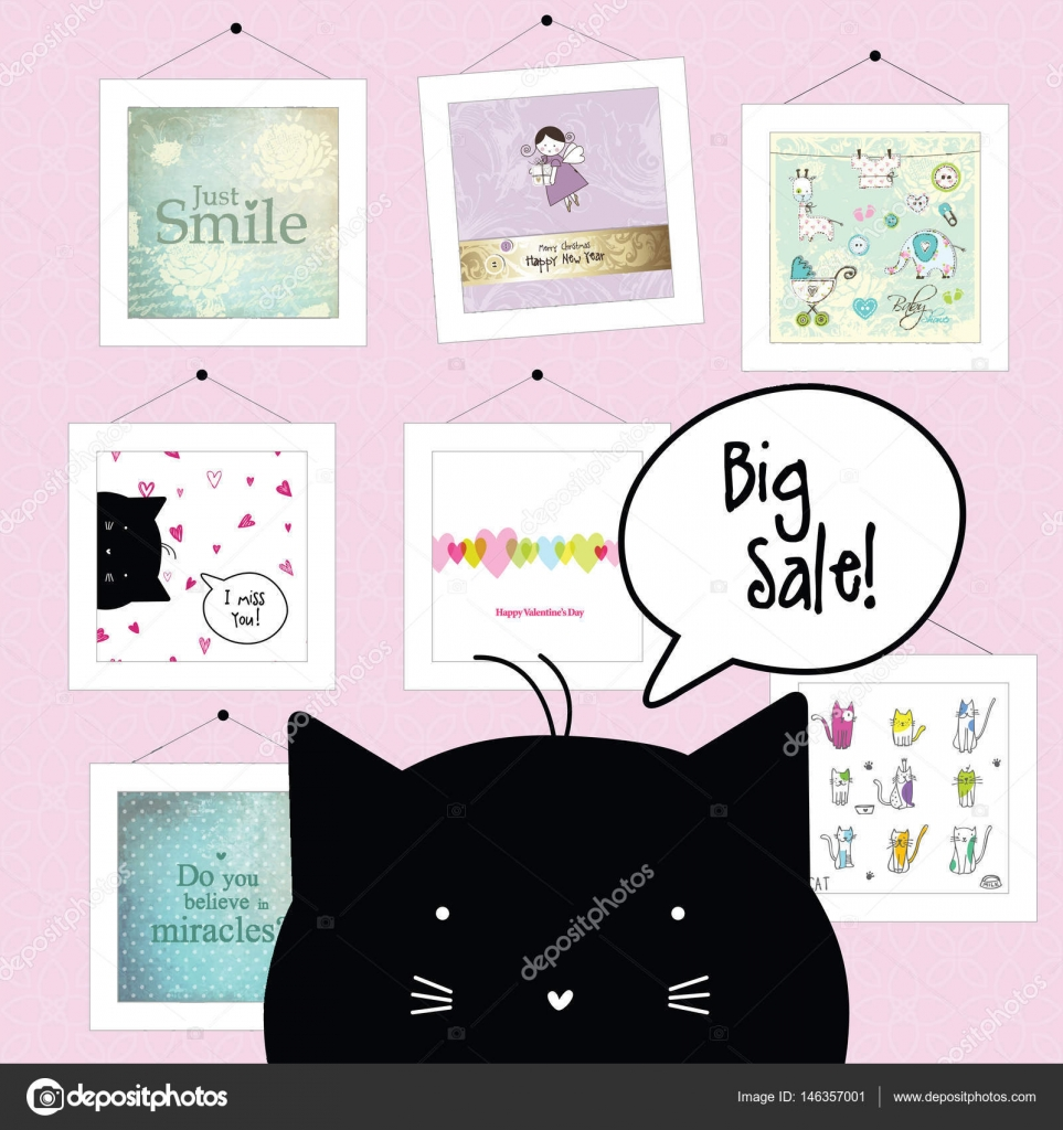 Big Spring Sale Cat Character Background Template Design Elements