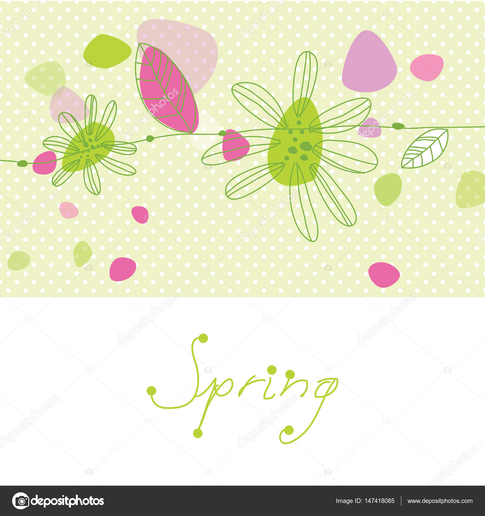 spring time spring flowers greeting card template with copy space