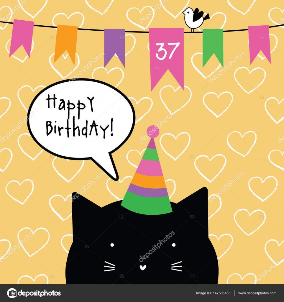 Cartolina Di Buon Compleanno Con Carattere Gatto Sveglio Cartolina