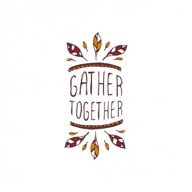 Thanksgiving label with text on white background