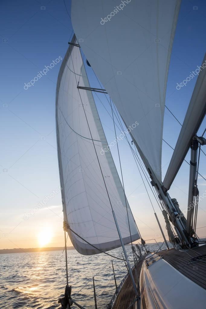 Sail Of Luxury Yacht In Open Sea
