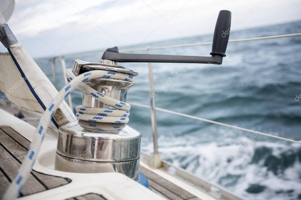 Closeup Of Rope On Yacht Winch