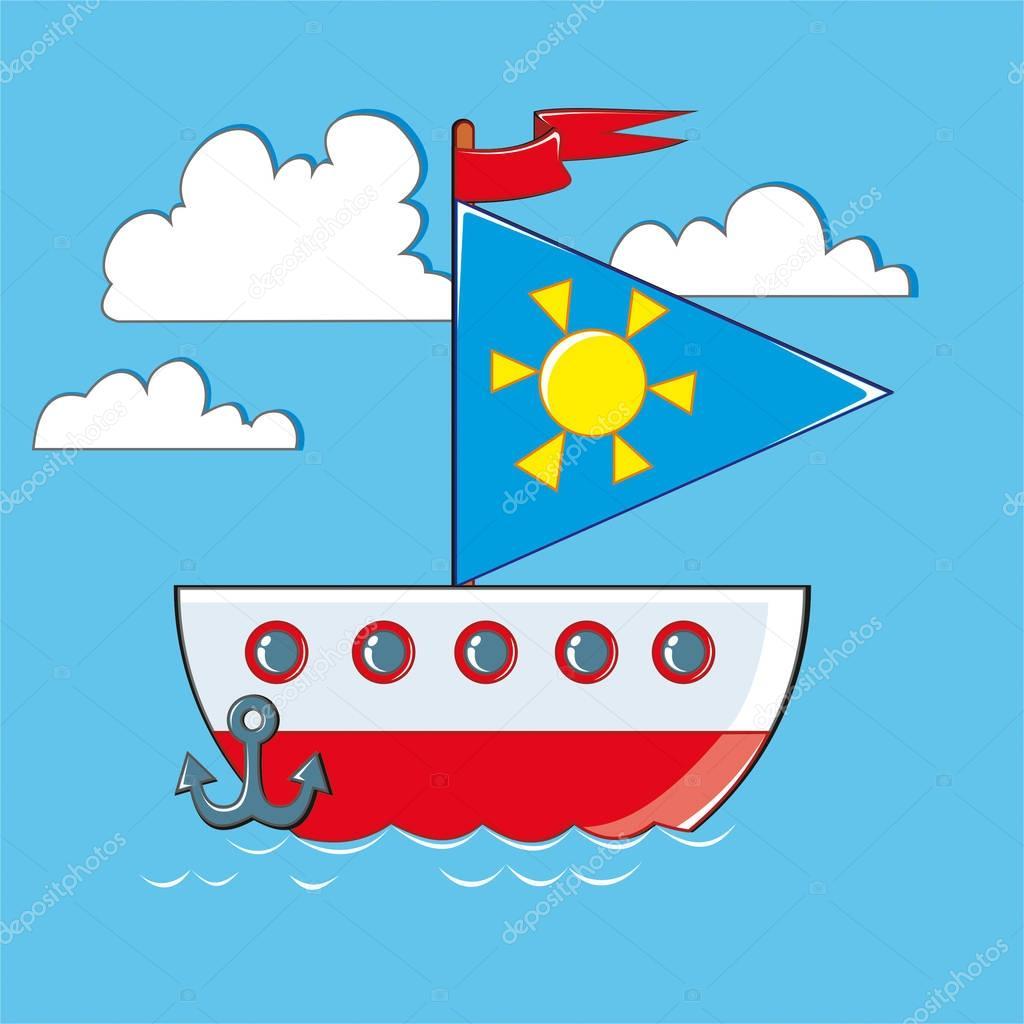 Cartone animato barca in mare vettoriali stock - Cartoni animati mare immagini ...