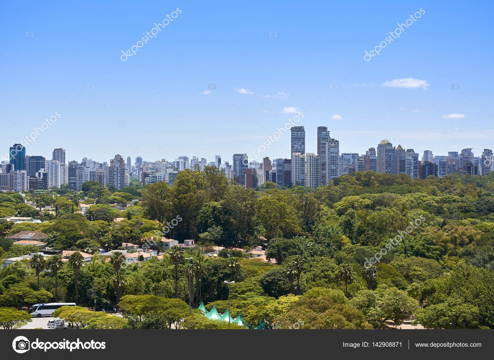 850fbd7c1c Weergave van huizen en gebouwen naast het Ibirapuera-Park in de stad Sao  Paulo