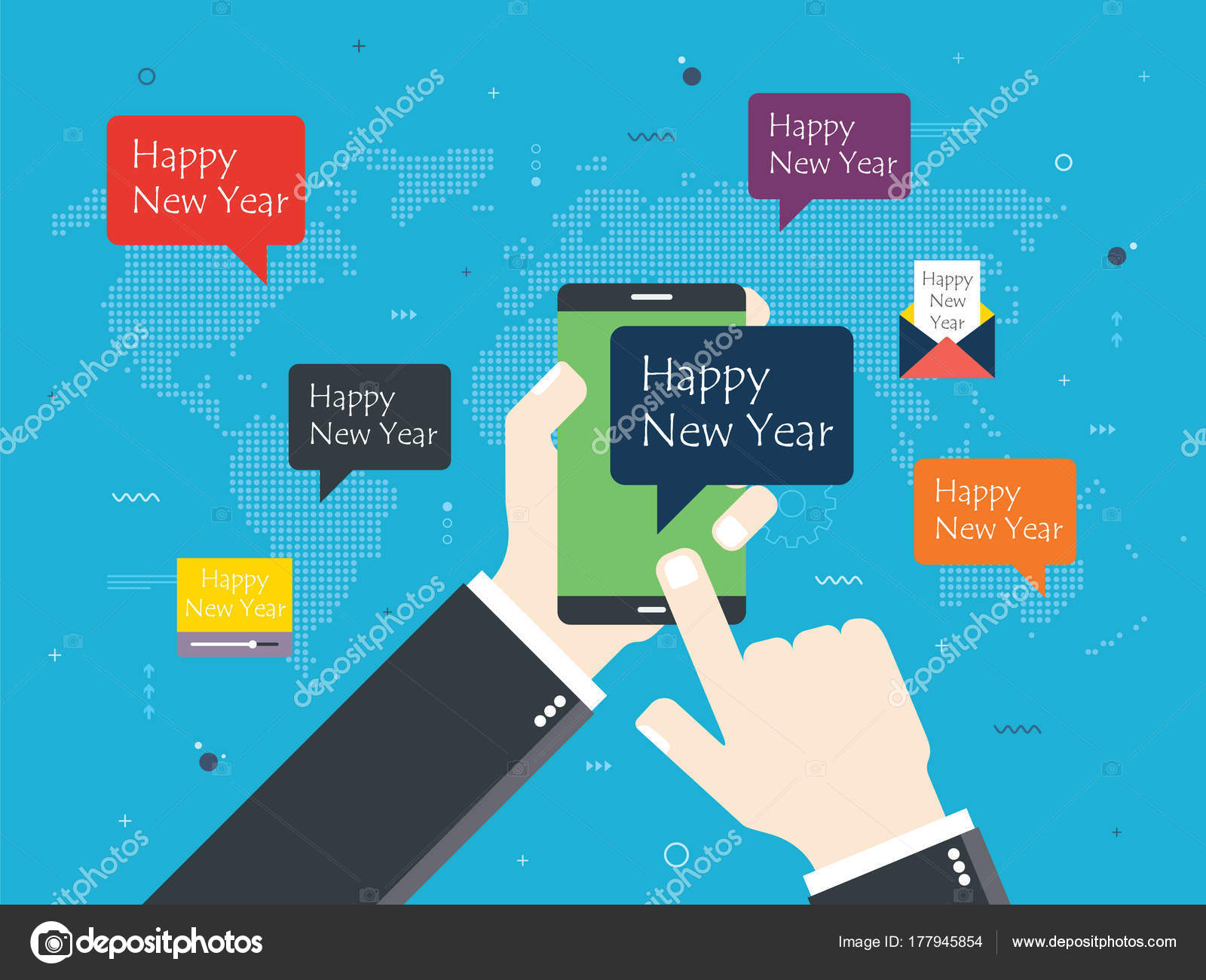 hand holding smartphone with happy new year message map of the world email and video with message of happy new year concept of social media