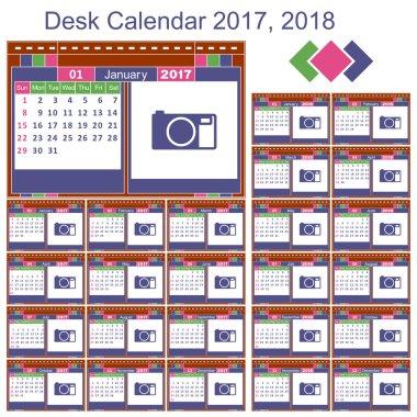 Desk calendar 2017, 2018
