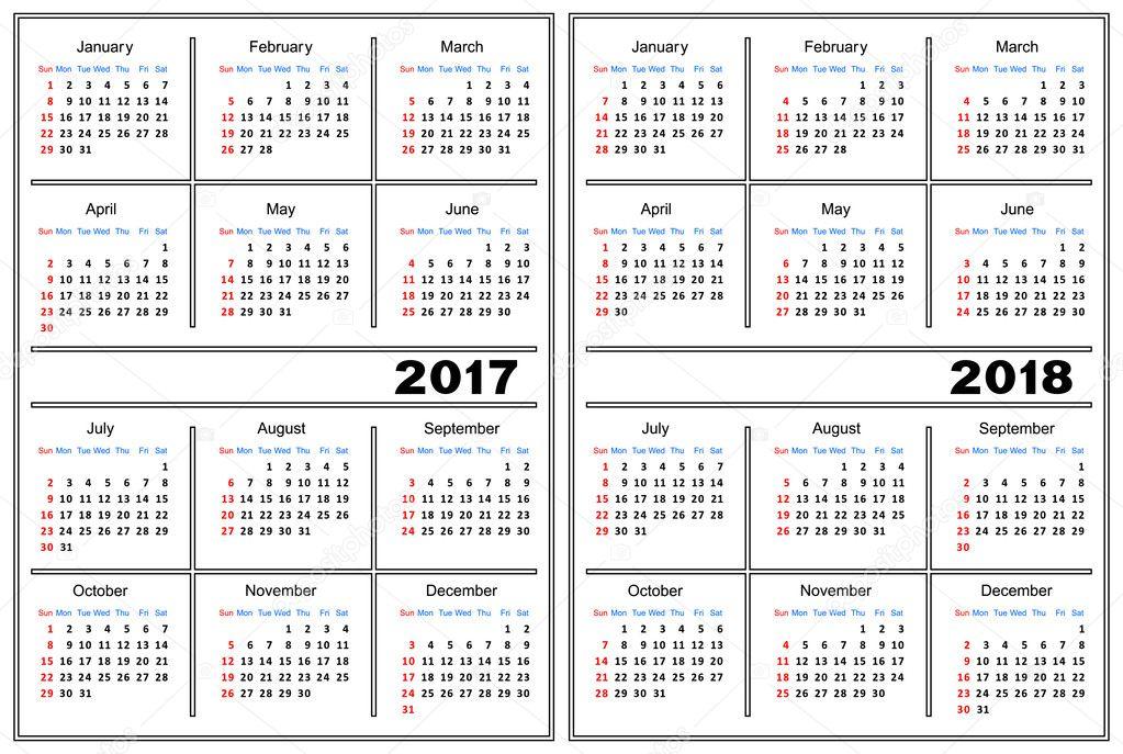 Calendar Template 2017 2018 Vector Image By C Silantiy Vector Stock 126234136