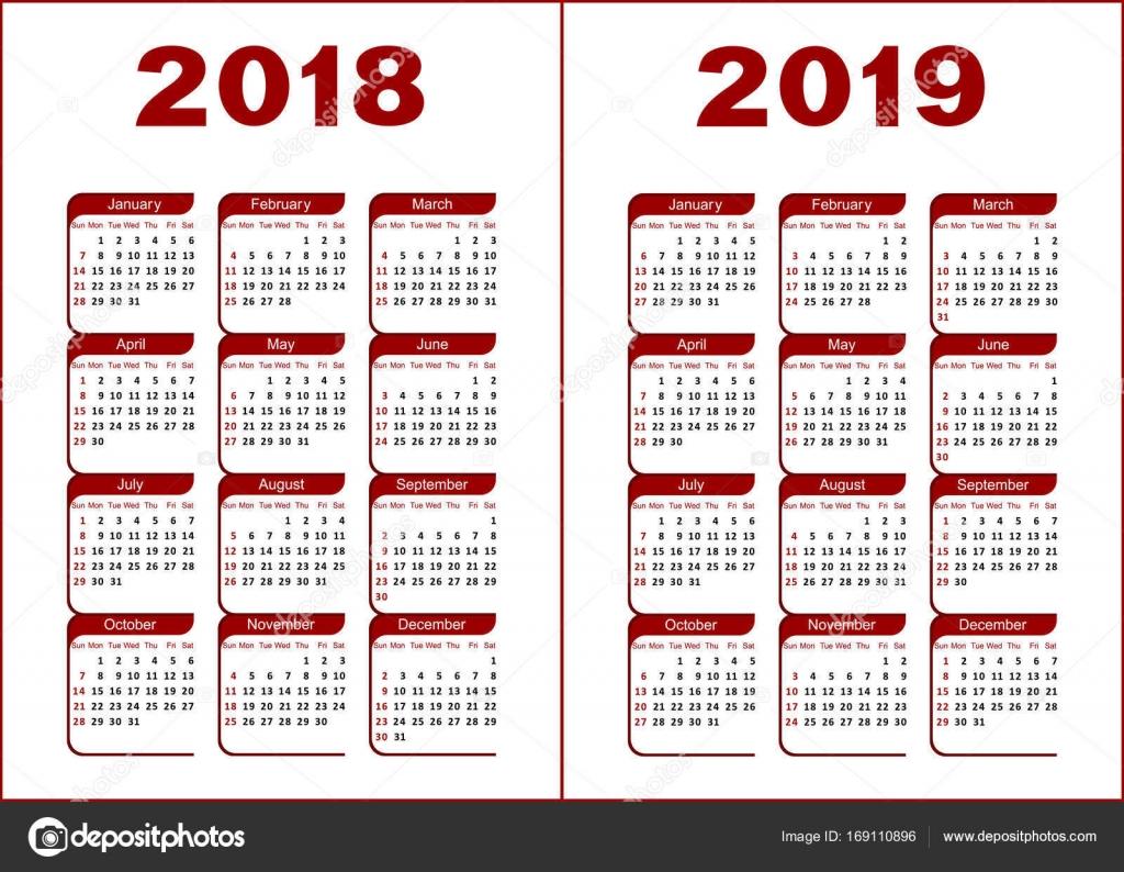 kalender 2018 2019 stockvector silantiy 169110896. Black Bedroom Furniture Sets. Home Design Ideas